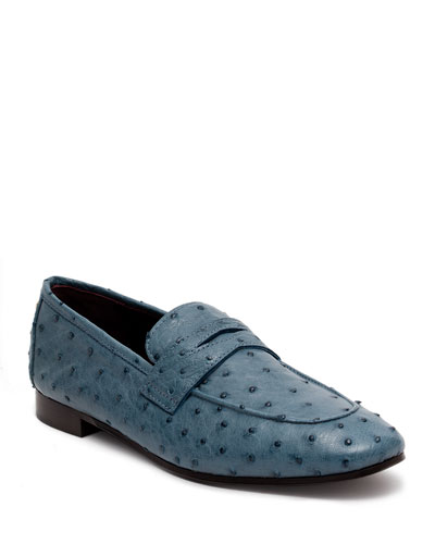 Flaneur Ostrich Penny Loafers, Blue