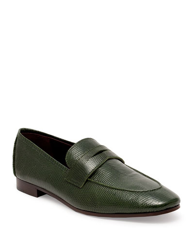 Flaneur Shiny Lizard Penny Loafers