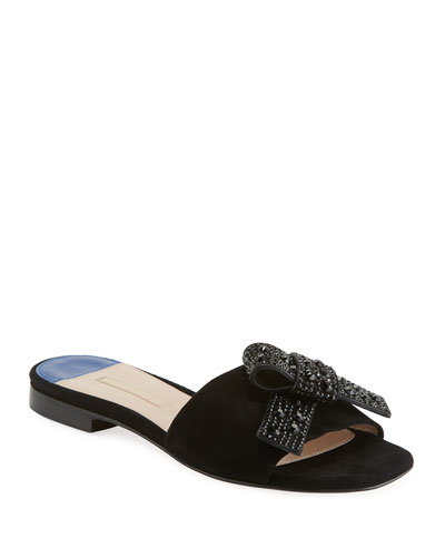 Milky Way Flat Suede Slide Sandal