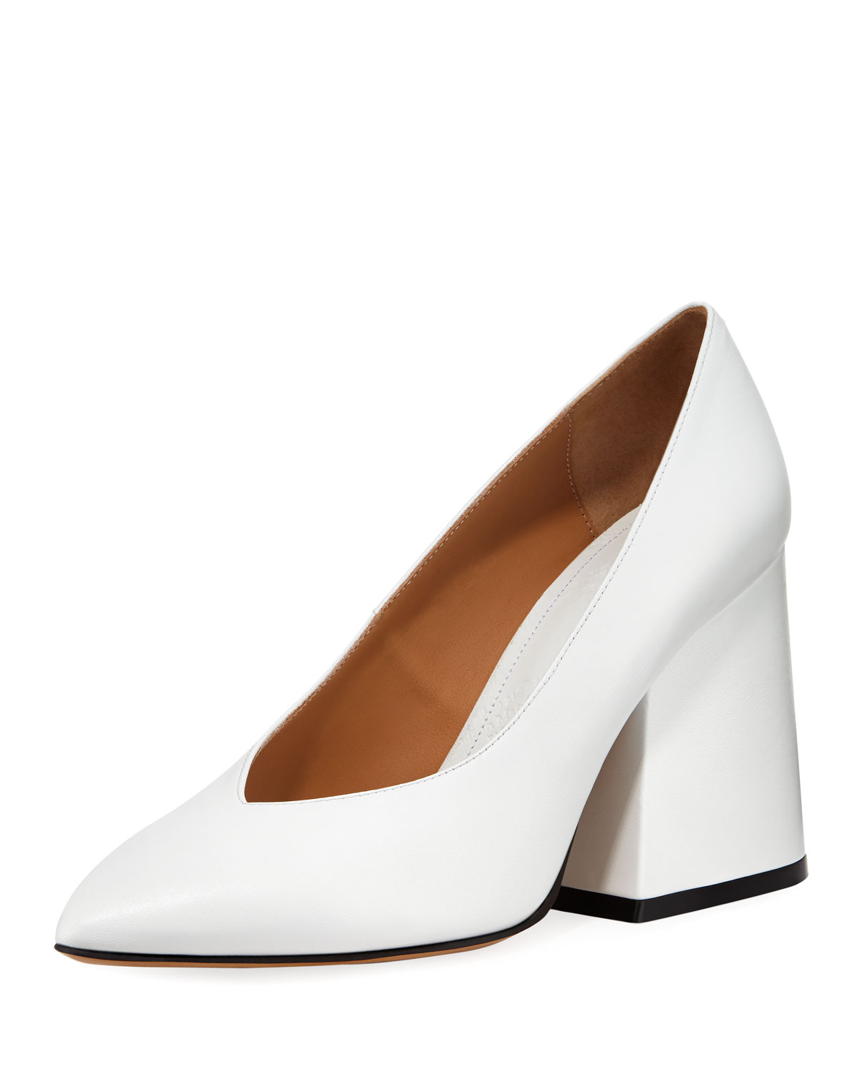 V-Neck Pointed Block-Heel Pumps
