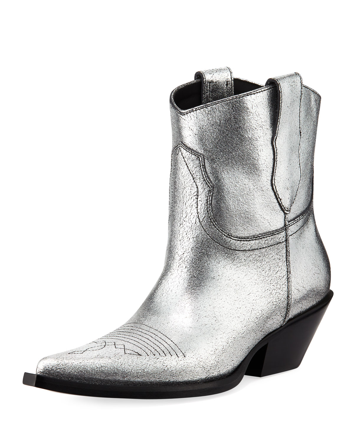 Metallic Leather Cowboy Booties