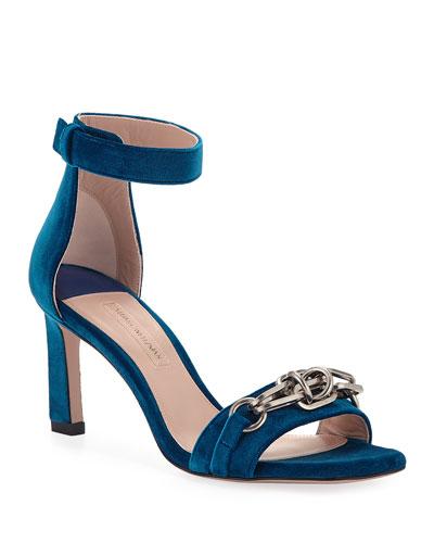 Link 75mm Velvet Chain Sandals