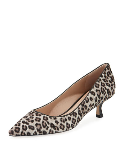Tippi Low-Heel Leopard Pointed-Toe Pumps