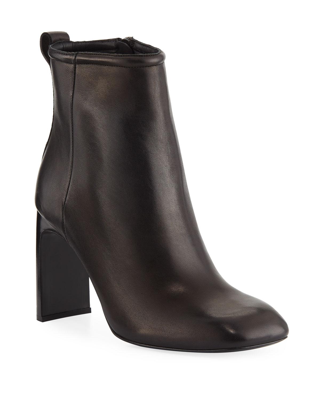 Ellis Square-Toe Leather Booties
