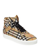 Burberry Reeth Check Canvas High-Top Sneakers
