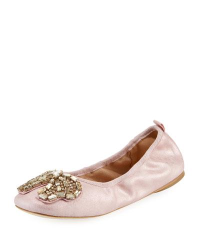 Margot Crystal-Bow Ballet Flats