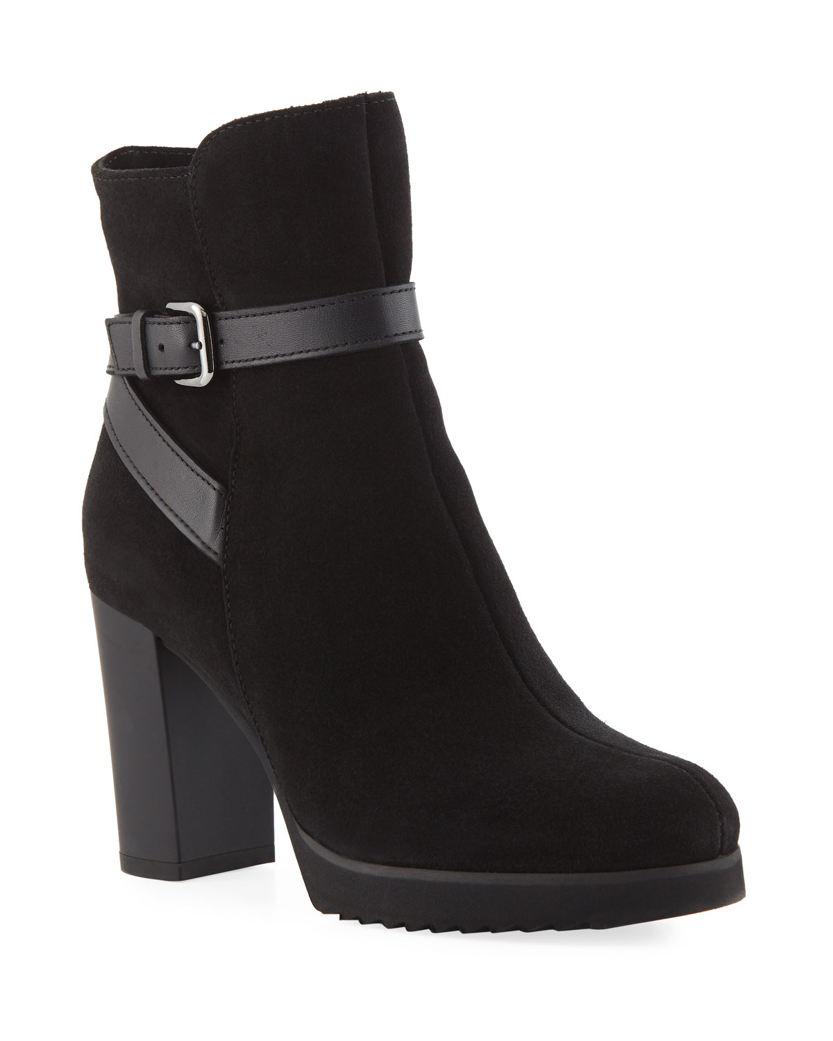 Meadow Suede Platform Booties, Black