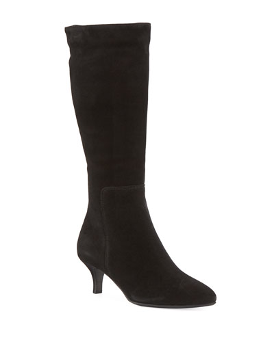 Dora Suede Pointy-Toe Mid-Calf Boots