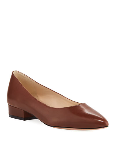 Vesta Grand Leather Skimmer Flats, Cherry Mahogany