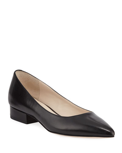 Vesta Grand Leather Skimmer Flats, Black