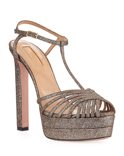 Moonlight Metallic Fabric Platform T-Strap Sandals