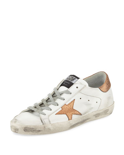 Superstar Leather Low-Top Platform Sneaker with Glitter Star