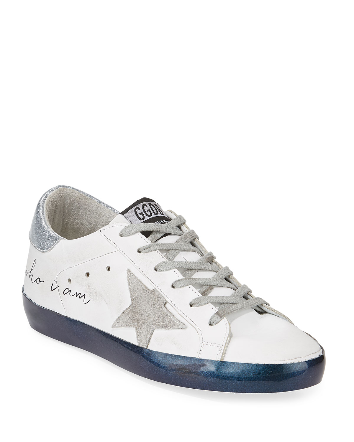 "Superstar ""Love Me For"" Leather Low-Top Platform Sneaker With Suede Star in White/Silver/Navy"