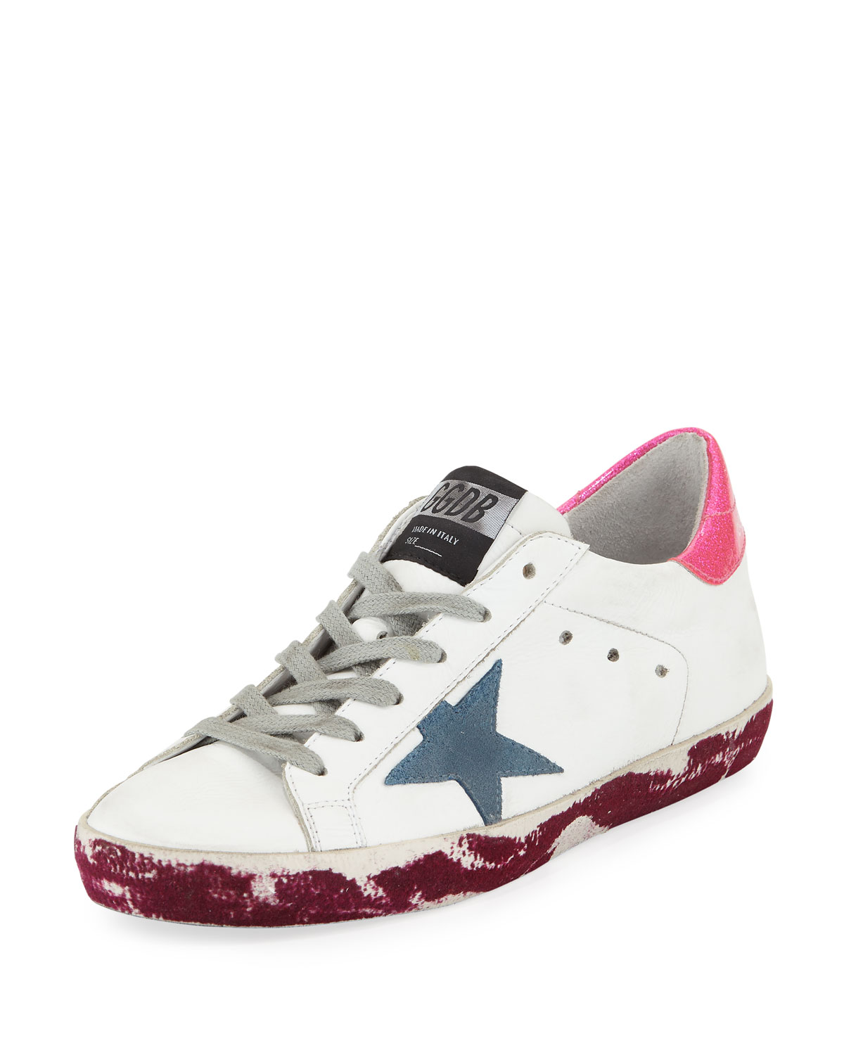 Superstar Paint-Leather Low-Top Platform Sneaker With Suede Star, White/Pink/Purple
