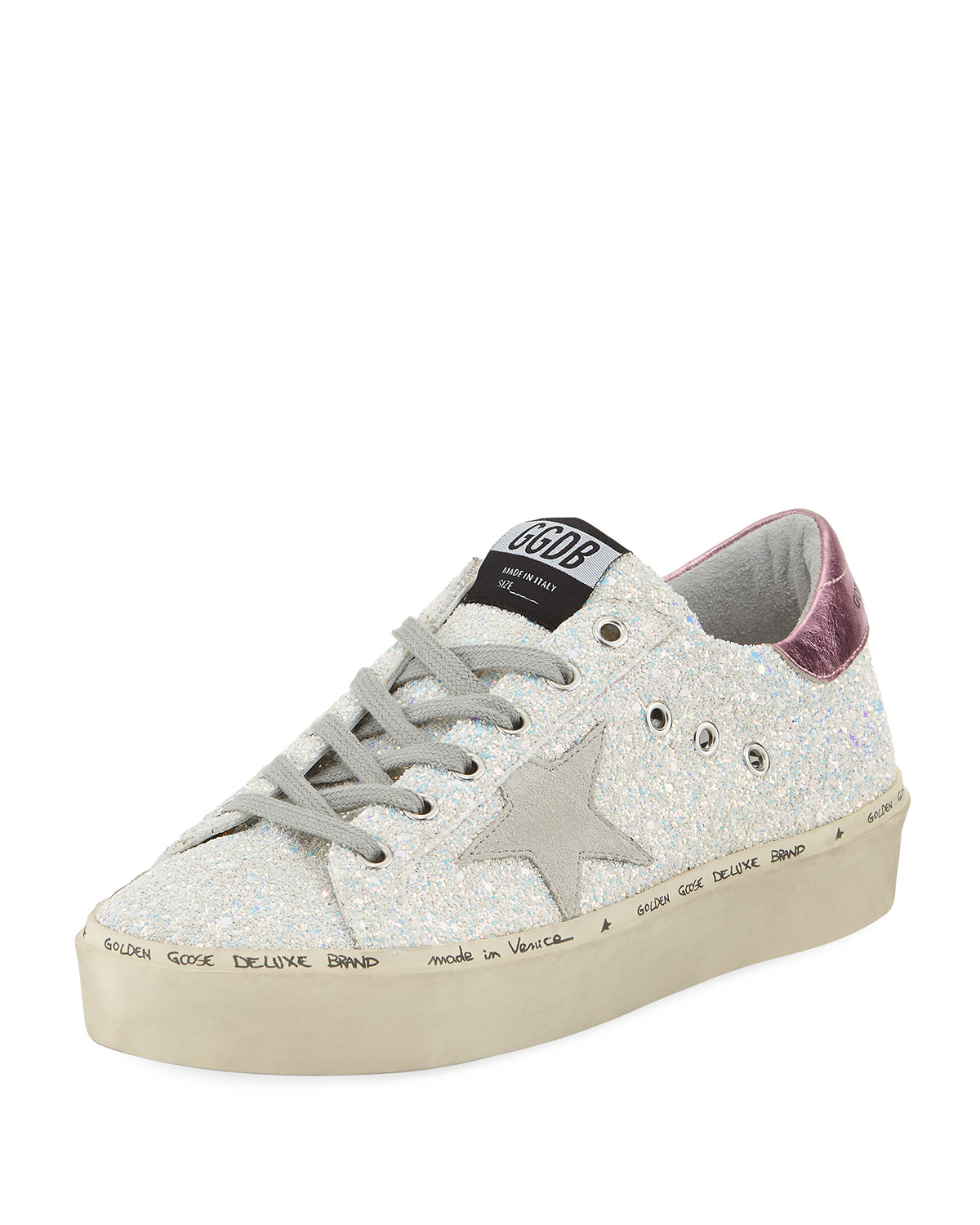 Hi Star Leather And Glitter Platform Sneakers, Iridesent Pink