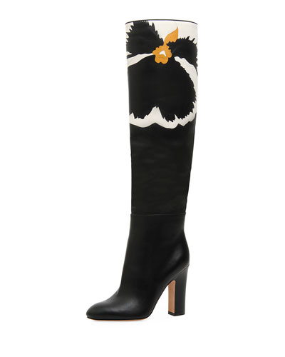 Pansy Bloom Leather Knee Boots