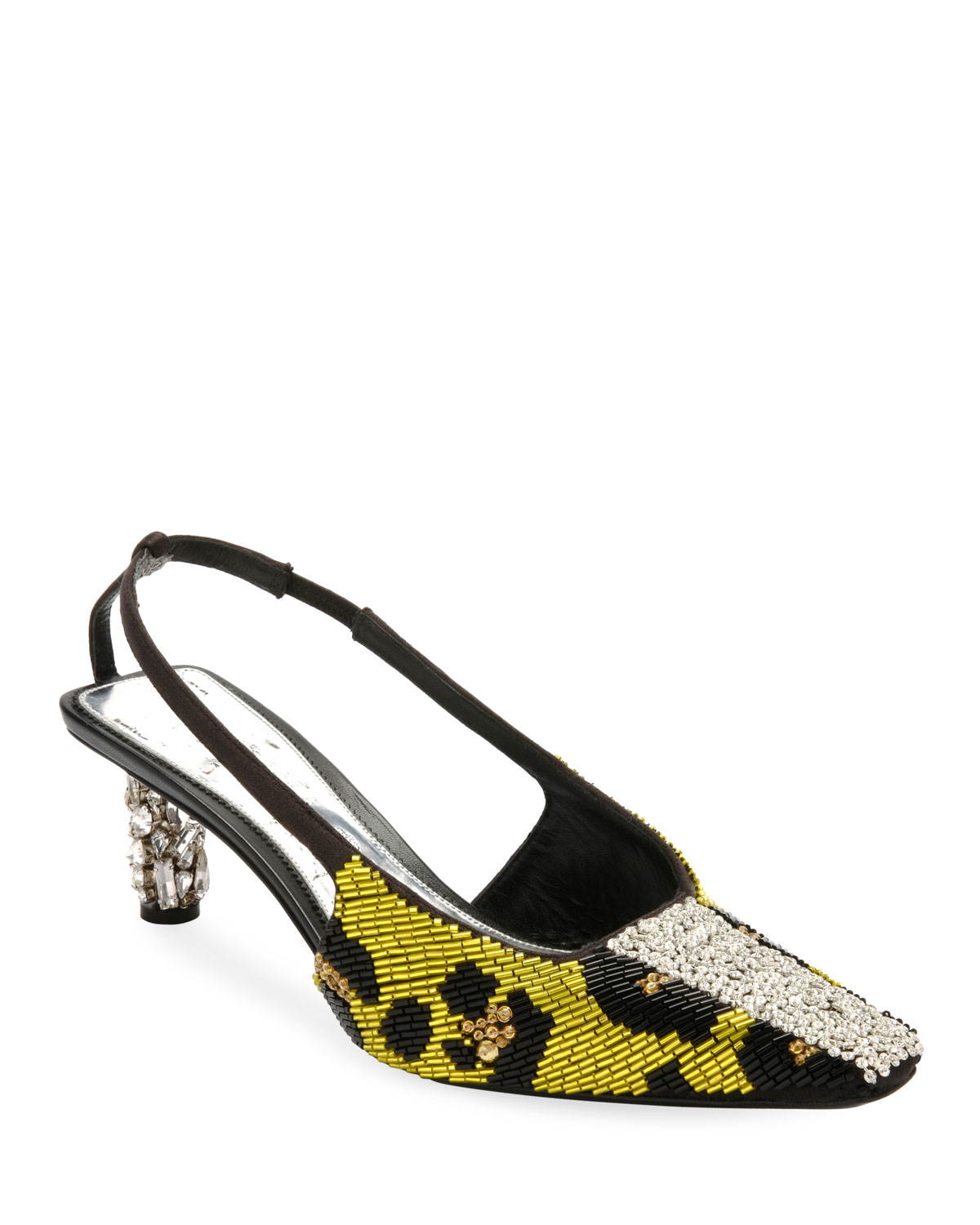 Leopard-Beaded Slingback Pump