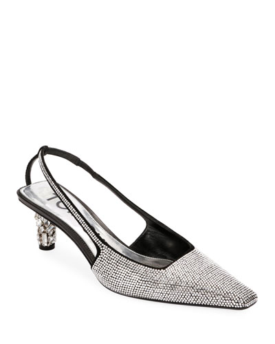Crystal-Beaded Slingback Pumps