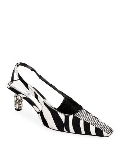 Zebra Animal-Print Velvet Slingback Pumps