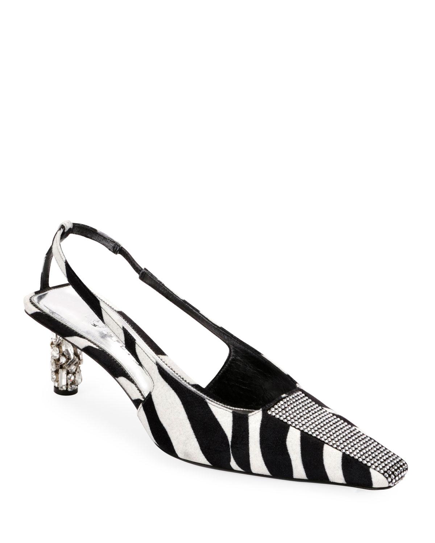 Zebra Animal-Print Velvet Slingback Pump
