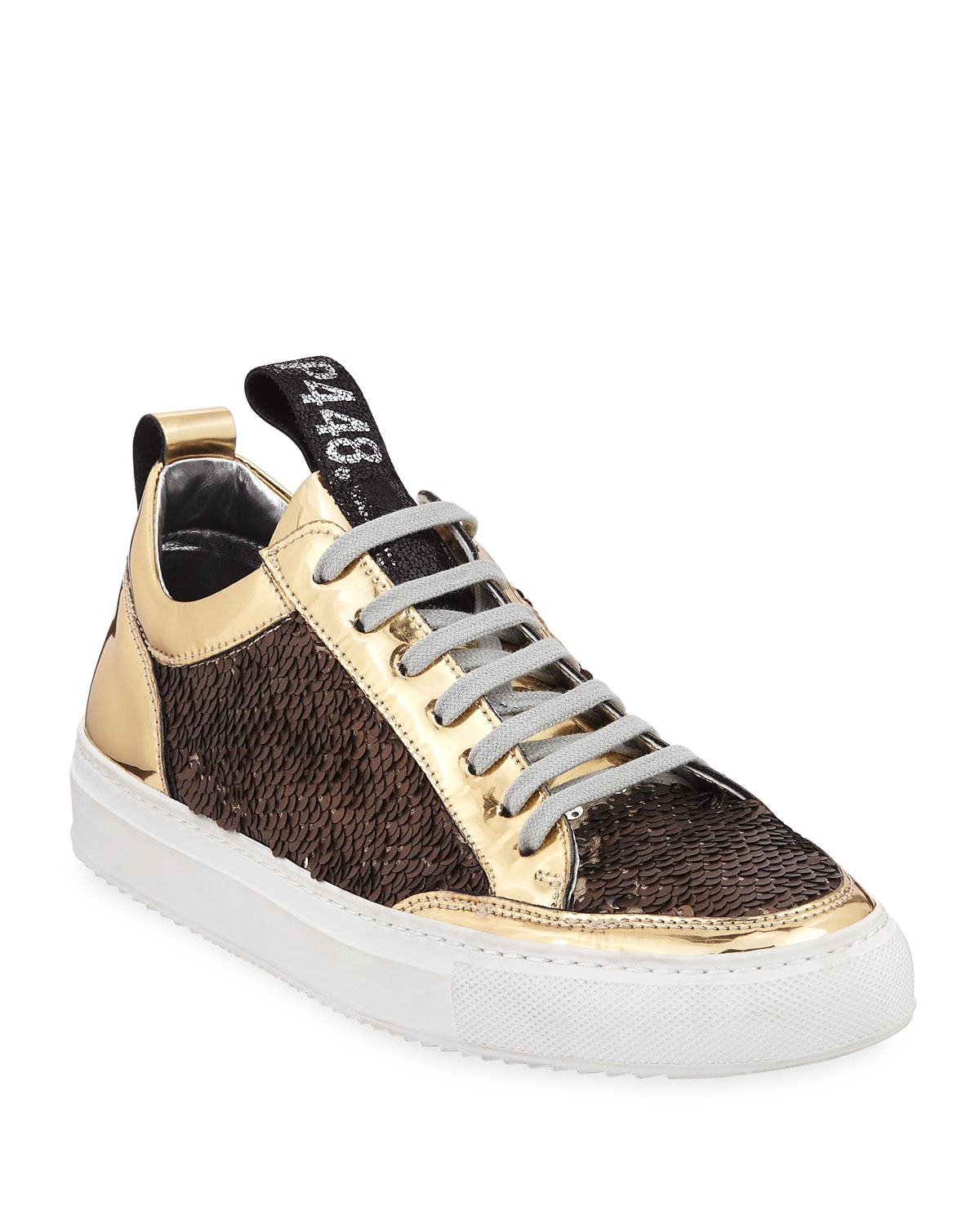 P448 WOMEN'S A8 SOHO PATENT LEATHER & SEQUIN LACE UP SNEAKERS