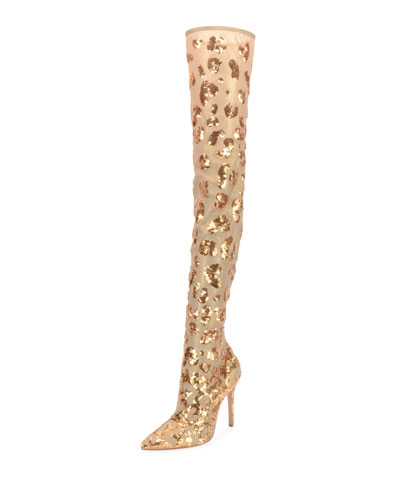 Daze Cuissard Leopard Over-The-Knee Boots