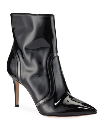 Shiny Leather & Vinyl Booties