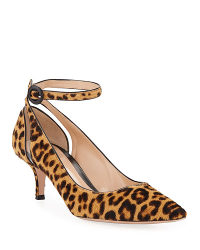 Leopard-Print Fur Ankle-Strap Pumps