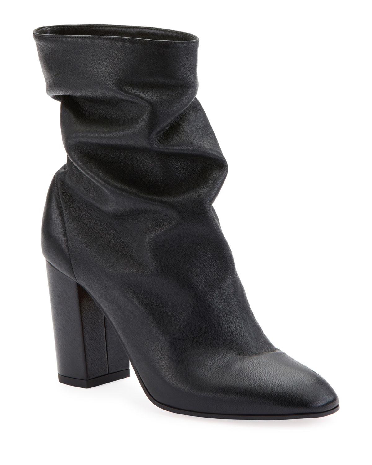 AQUAZZURA BOOGIE SCRUNCH LEATHER BOOTIE