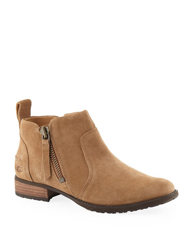 Aureo Suede Ankle Booties, Chestnut