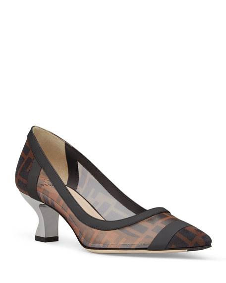 Fendi FF Mesh Kitten-Heel Pointed-Toe Pumps