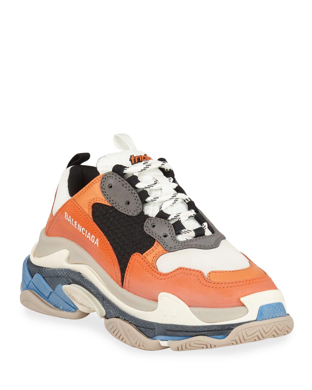 Triple S Mesh & Leather Trainer Sneaker, Orange Gris Noir