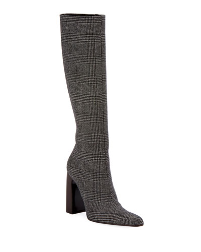 Prince de Galles Houndstooth Knee Boot
