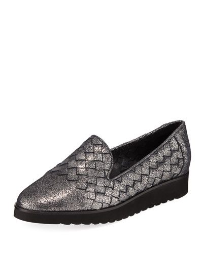 Naia Iconic Woven Leather Loafers, Black Metallic