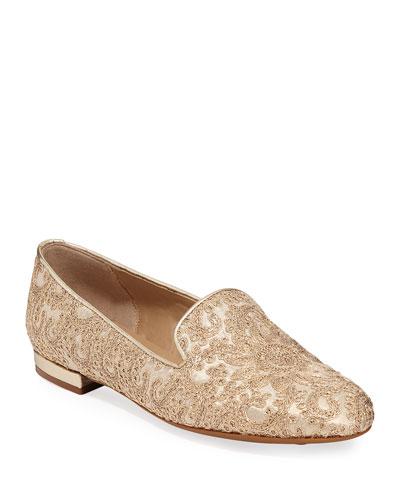 Kama Embellished Flat Loafers, Gold