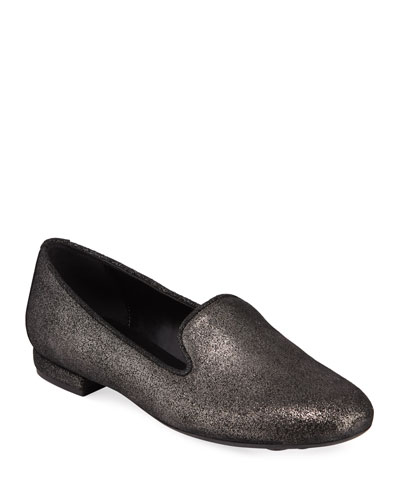 Kama Flat Metallic Fabric Loafers