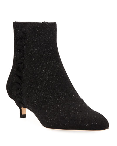 Bayley Ruffle Glittered Booties, Black Metallic