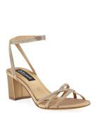 Pedro Garcia Xafira Embellished Satin Block-Heel Sandal