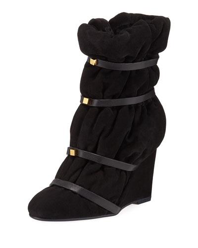 Duvet Stud Wedge Mid-Calf Boots
