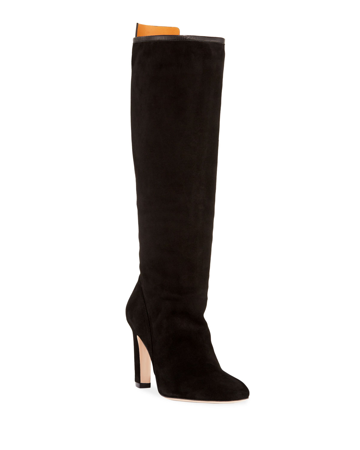 Charlie Slouchy Suede Knee Boot, Black