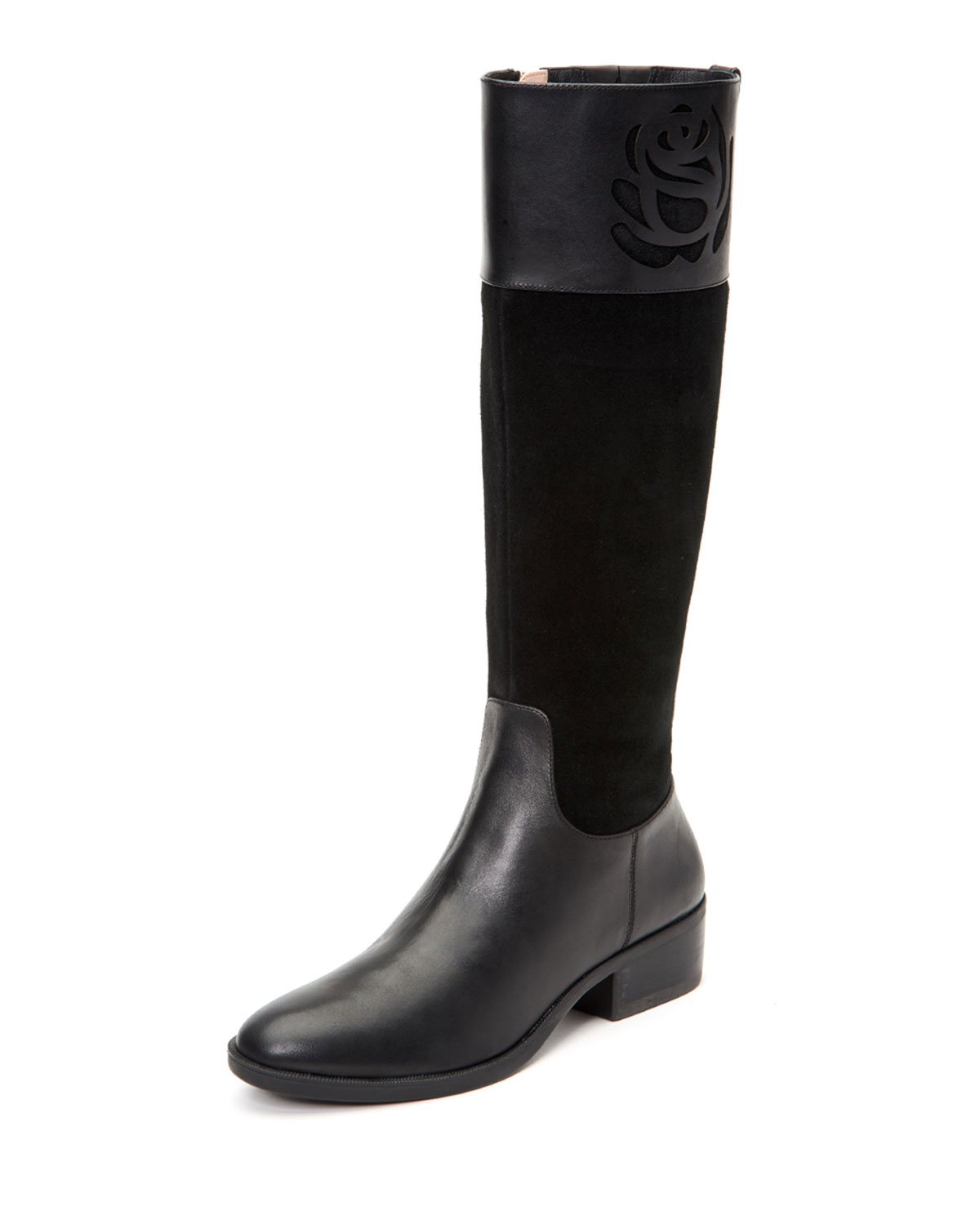 TARYN ROSE GEORGIA TALL LEATHER/SUEDE RIDING BOOTS