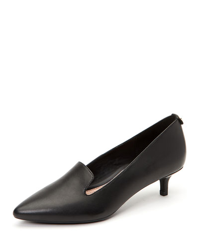 Nadia Leather Kitten-Heel Arch-Support Pumps