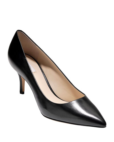 Vesta Grand Leather Point-Toe Pumps, Black
