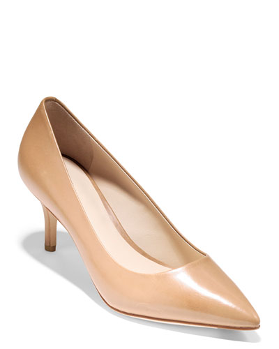 Vesta Grand Leather Point-Toe Pumps, Nude