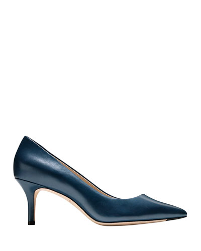 Vesta Grand Leather Point-Toe Pumps, Marine Blue