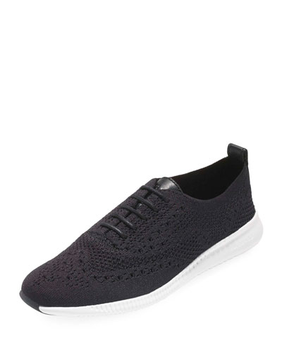 2.ZeroGrand Stitchlite Knit Wingtip Oxford Sneakers, Black