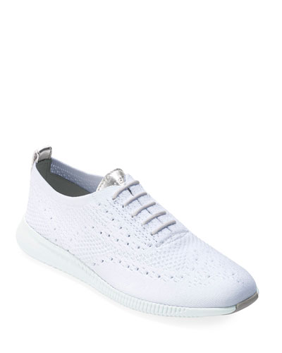 2.ZeroGrand Stitchlite Knit Wingtip Oxford Sneakers, White