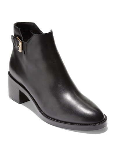Harrington Grand 360 Low-Heel Leather Buckle Booties