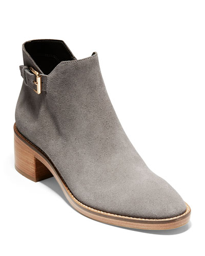 Harrington Grand 360 Low-Heel Suede Buckle Booties, Stormcloud