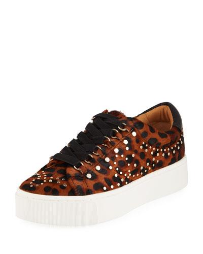 Handan Studded Leopard-Print Platform Sneakers